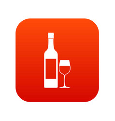 Bottle of wine icon digital red vector