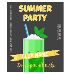 cocktail party celebration flyer with mojito vector image vector image