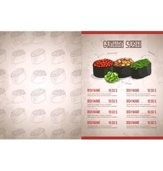 Color horisontal gunkan sushi menu vector image