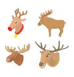 deer icon set cartoon style vector image vector image