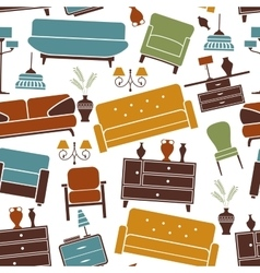 Seamless pattern of home furniture vector image vector image