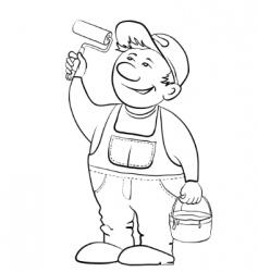 worker house painter contour vector image vector image