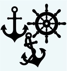 Anchor and rudder vector image vector image