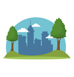 landscape cityscape building meadow trees vector image