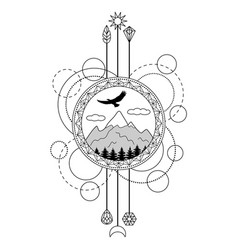 mountains tattoo symbol vector image vector image