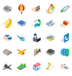 notification center icons set isometric style vector image vector image