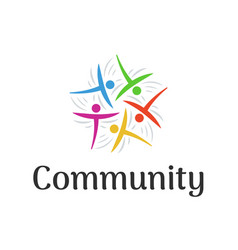 people connect logo community or family teamwork vector image