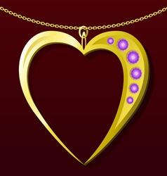 Valentine gold pendant vector image vector image