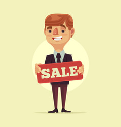 worker man manager character hold sale board vector image vector image