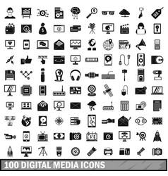 100 digital media icons set simple style vector image