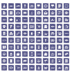 100 sale icons set grunge sapphire vector image
