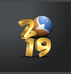 2019 golden typography with tierra del fuego vector