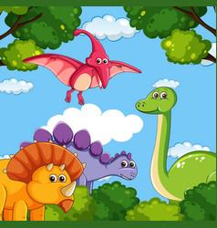 a cartoon of dinosaurs vector image