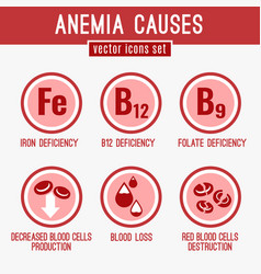 Anemia icons set vector