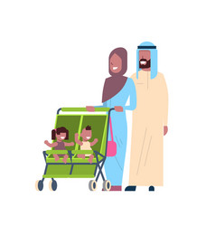 Arab father mother baby twins double stroller full vector