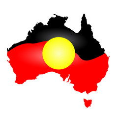 Australia aboriginal flag map continent isolated vector
