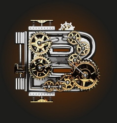B letter with gears vector