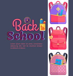 backpack for child school stationery accessories vector image