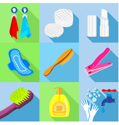 bathroom stuffs icons set flat style vector image