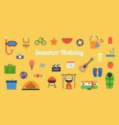 Big set of summer holiday activities icon vector