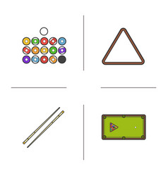 billiard color icons set vector image