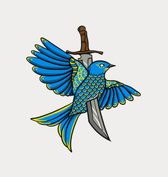 bird stabbed with a sword vector image