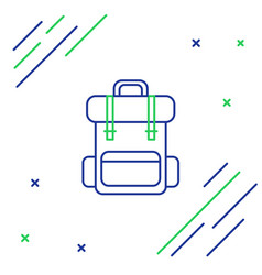 Blue and green line hiking backpack icon isolated vector