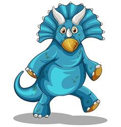 Blue dinosaur with horns vector