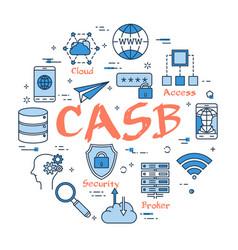 Blue round casb concept vector
