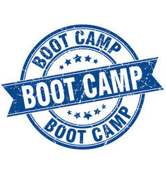 Boot camp round grunge ribbon stamp vector