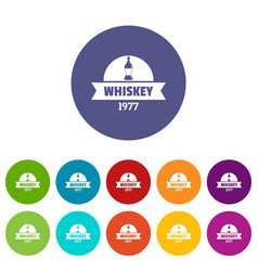 bottle whiskey icons set color vector image