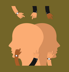 Brain wash concept with human head and hand work vector