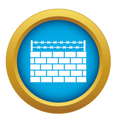 Brick wall border icon blue isolated vector