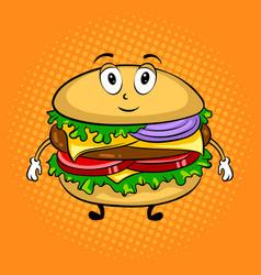 burger cartoon pop art vector image