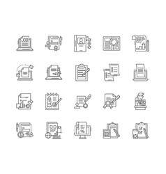 business report line icons signs set vector image