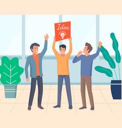 business team having idea businessman in office vector image