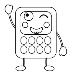 Cartoon calculators kawaii school character vector