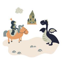 cartoon knight on a horsem meets a dragon kids vector image