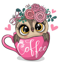Cartoon owl is sitting in a cup coffee vector