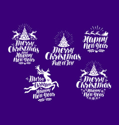 christmas new year logo or label xmas vector image