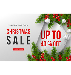 christmas sale banner with decorative elements vector image