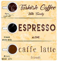 Coffee kinds poster cup for coffee with ornament vector