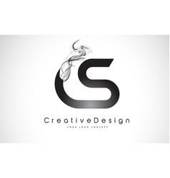 Cs letter logo design with black smoke vector