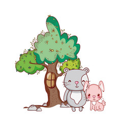 Cute animals pink rabbit with cat tree nature vector