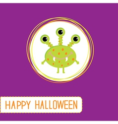 Cute cartoon green monster Violet background vector