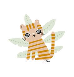 cute cartoon tiger in sunglasses childish summer vector image
