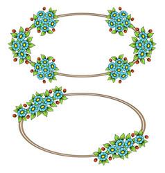 Daisy color flowers ellipse frames vector
