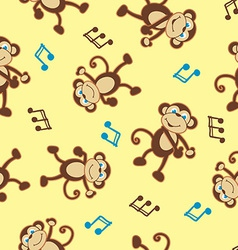 Dancing monkey to music seamless pattern vector