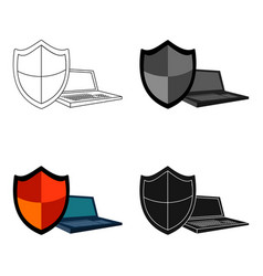 data security of laptop icon in cartoon style vector image