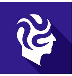 Depressive brain icon flat style vector
